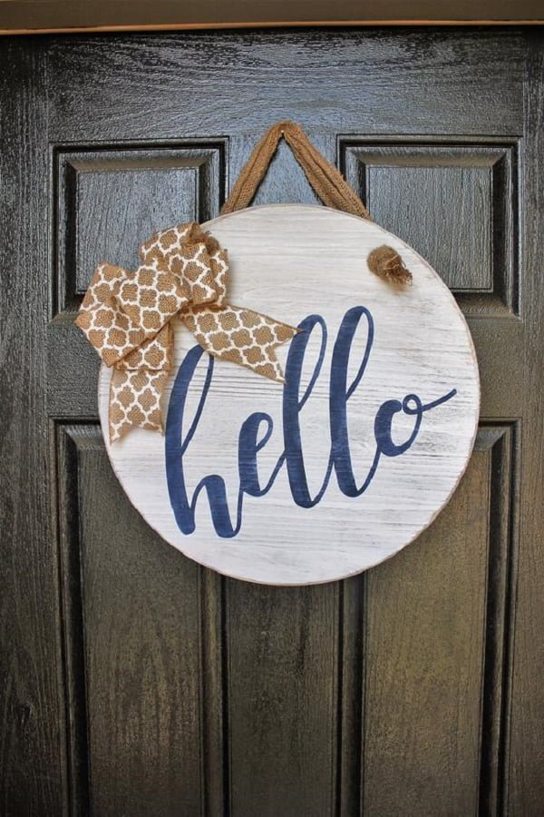 Rustic Hello sign front door decor idea
