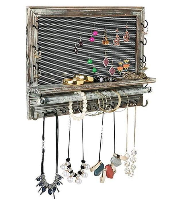 Rustic jewelry wall organizer