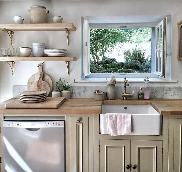 Rustic kitchen cabinets and open shelving