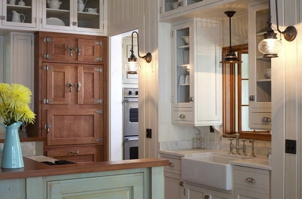 Rustic accent pantry kitchen cabinet