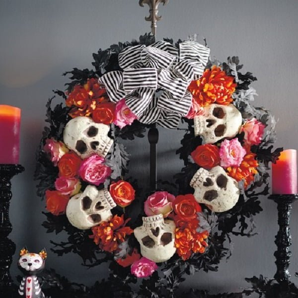 Floral  wreath with skulls and ribbons