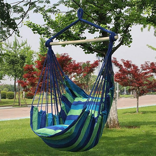 Sorbus hanging rope hammock swing chair with cushions