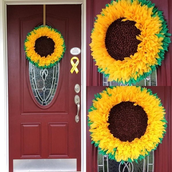 Faux sunflower wreath front door decor idea