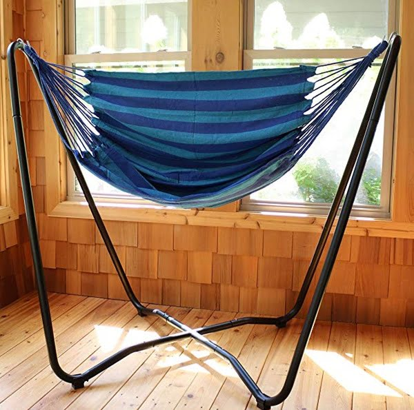 Sunnydaze hanging hammock swing chair with stand