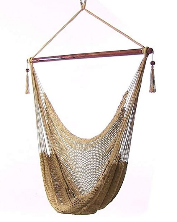 Sunnydaze hanging rope hammock swing chair