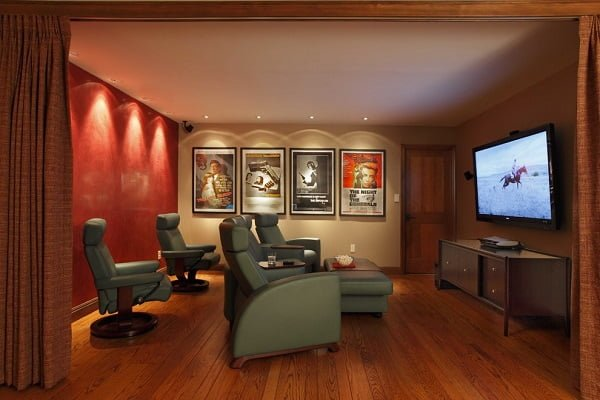 Home theater decor with movie posters