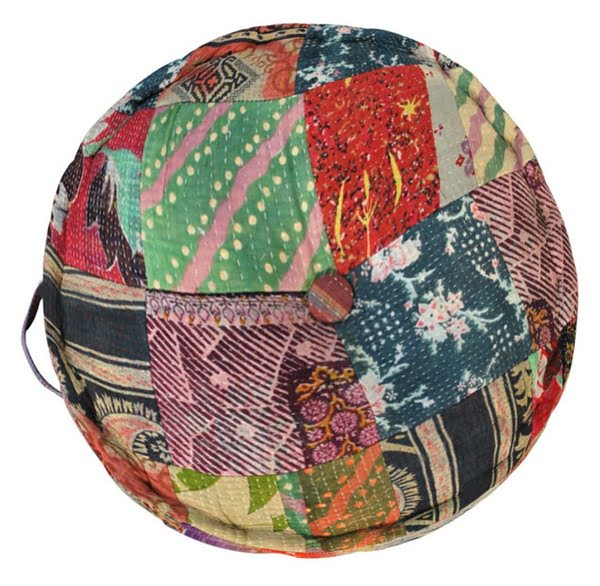 Vintage patchwork floor pillow