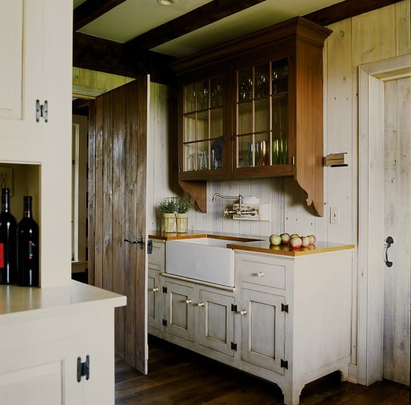 White weathered farmhouse rustic kitchen cabinets