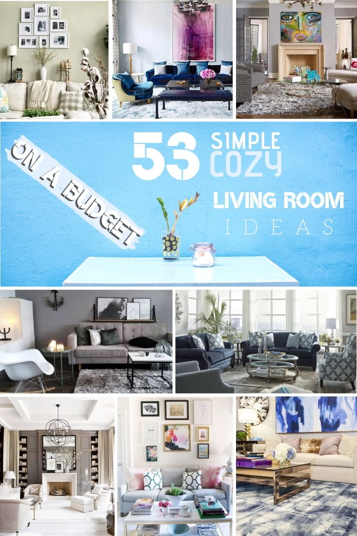If you want to redecorate your living room here are 53 simple and cozy ideas on a budget. Great list! #DIY #homedecor