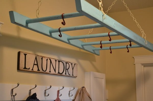 Ceiling ladder drying rack laundry room