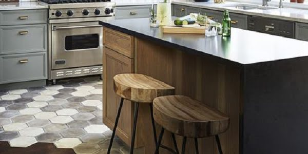 Concrete kitchen floor tile idea
