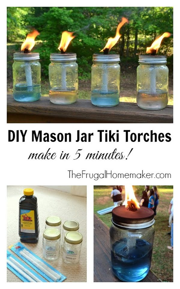 How to make a#DIY mason jar tiki torches #homedecor