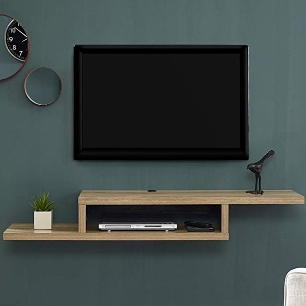 Asymmetrical Wall Mounted TV Shelf