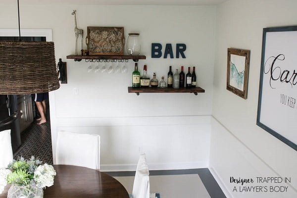 Bar shelves dining room wall decor #homedecor