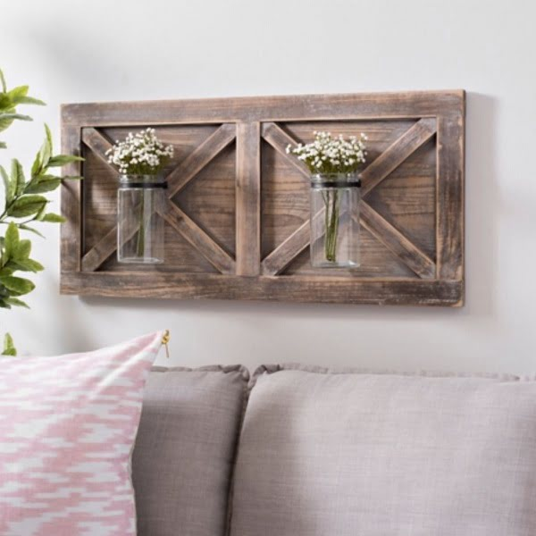 Barn door vases #rustic wall decor idea #homedecor