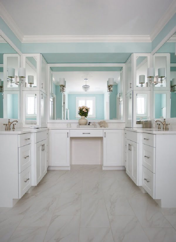 Beach style bathroom white shaker cabinets #homedecor