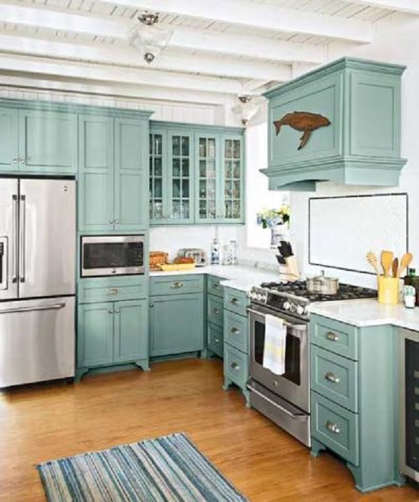 Benjamin Moore Stratton Blue green kitchen cabients #homedecor