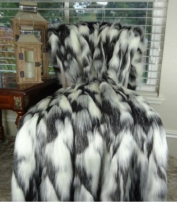 Black and white faux fur blanket