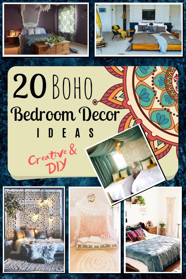 Love boho decor and want your bedroom to have the vibe? Who doesn't! This is a great list of 20 creative boho decor ides for the bedroom. Worth saving! #homedecor #bedroomdecor #DIY