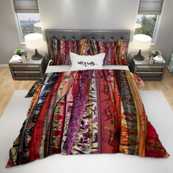 Bright pattern duvet covers boho bedroom