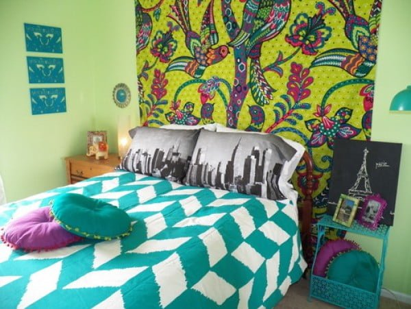 Vibrant colors boho bedroom
