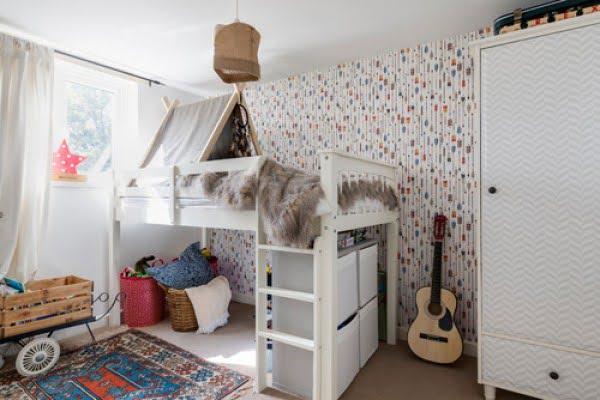 Accent wallpaper boho bedroom