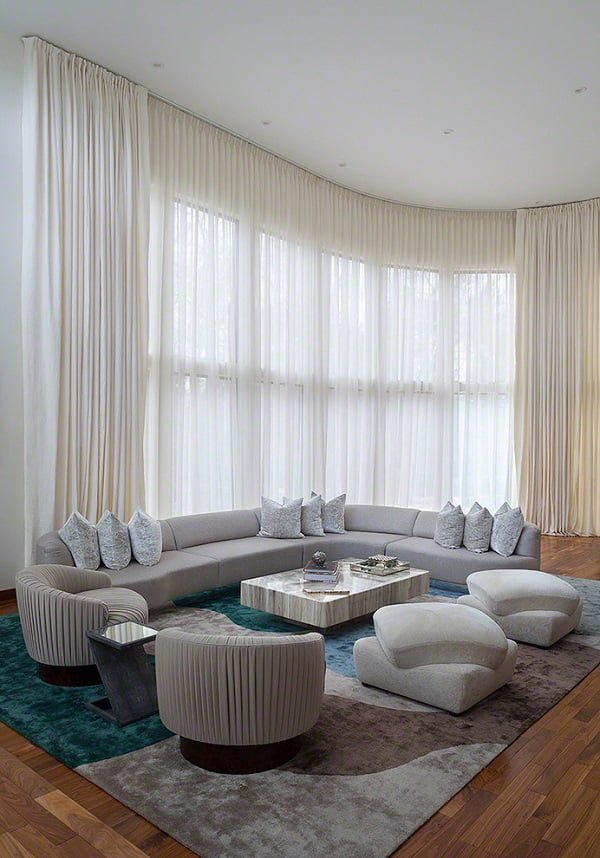 Ceiling to floor living room curtains