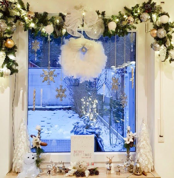 Feather wreath  window decoration