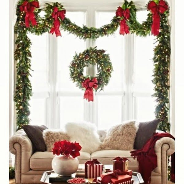 #Christmas window decoration with wreaths #homedecor