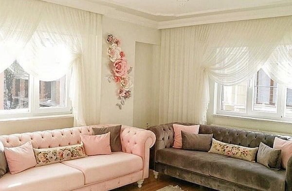 Classic white living room curtains