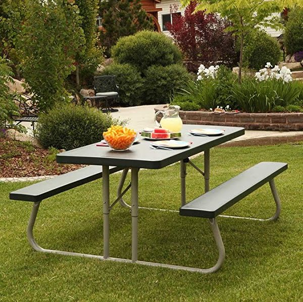 Collapsible picnic table with benches