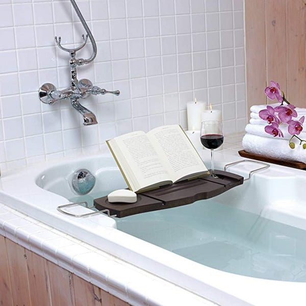 Compact bamboo bathtub tray