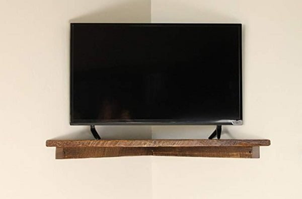 Rustic corner TV shelf