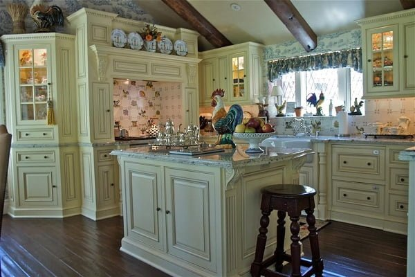 Country French green kitchen cabinets