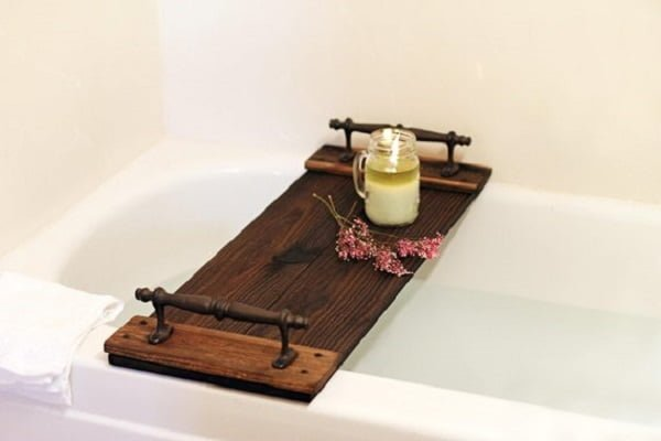 Custom rustic bathtub tray