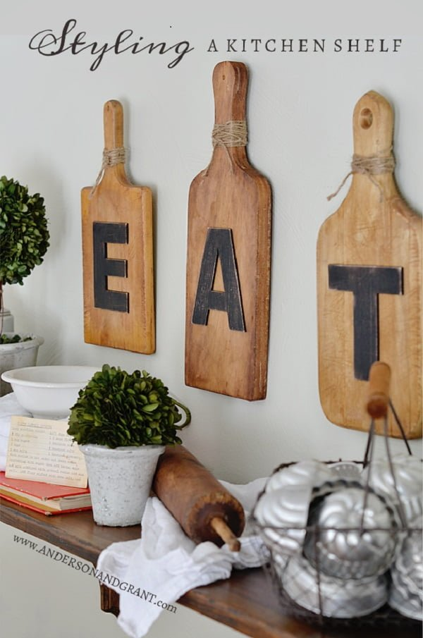 Display shelf kitchen wall art