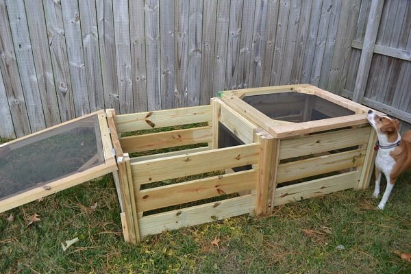 How to build a #DIY 2 part compost bin #gardening