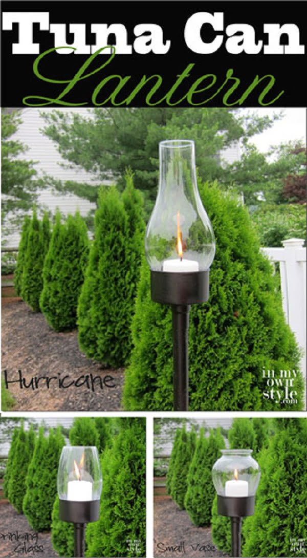 How to make  outdoor torch lanterns from tuna cans