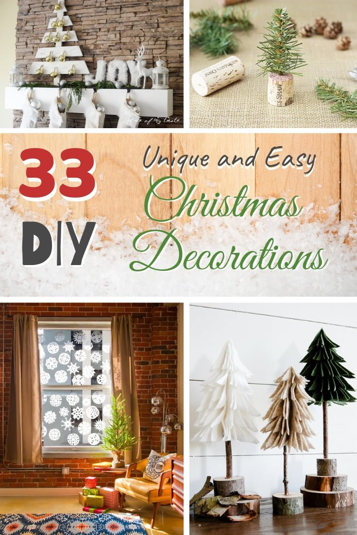One of the best ways to decorate your home for Christmas is with DIY decorations. Here are 33 #DIY projects for the Holidays! #homedecor #holidays #christmas