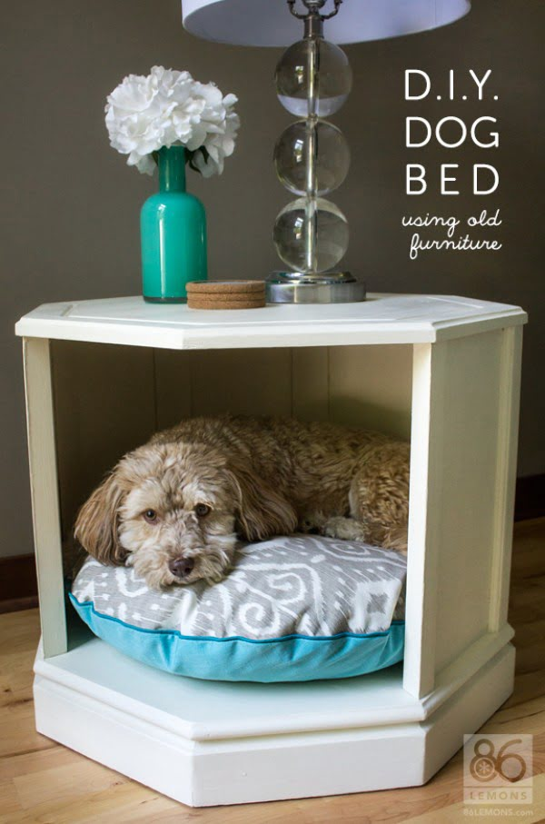 Upcycled  Dog Bed from an Old Nightstand