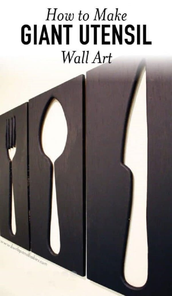 How to make  giant utensil kitchen wall art