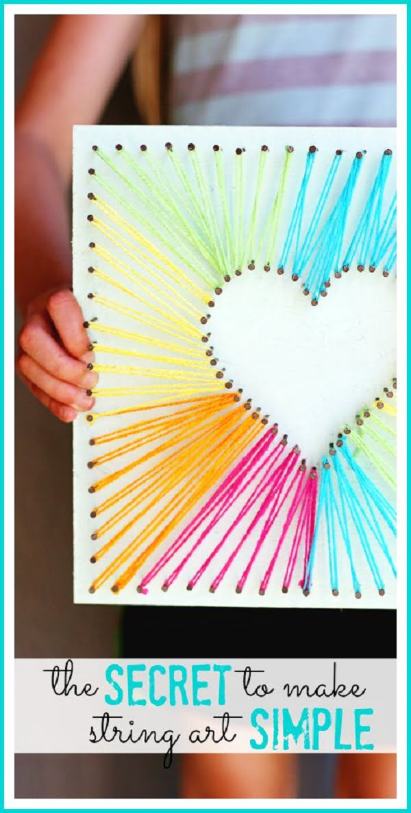How to make  heart shaped string art