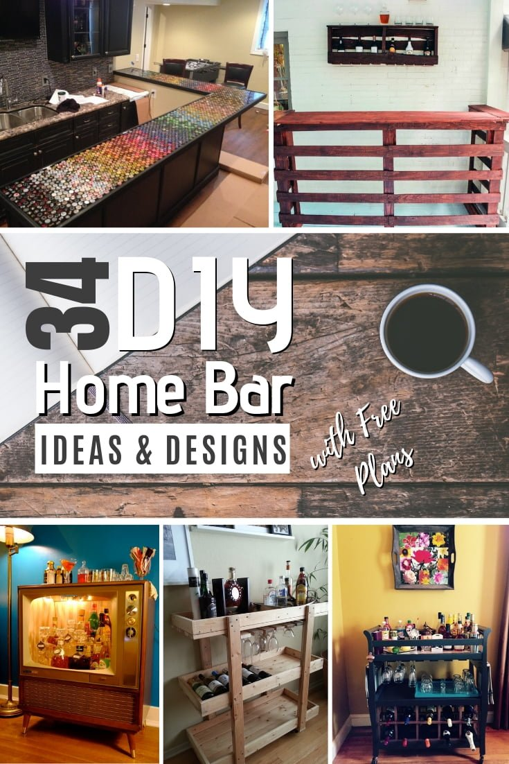 Who else wants to build a DIY home bar in their home? It's easy with these ideas and designs. Great list! #DIY #homedecor