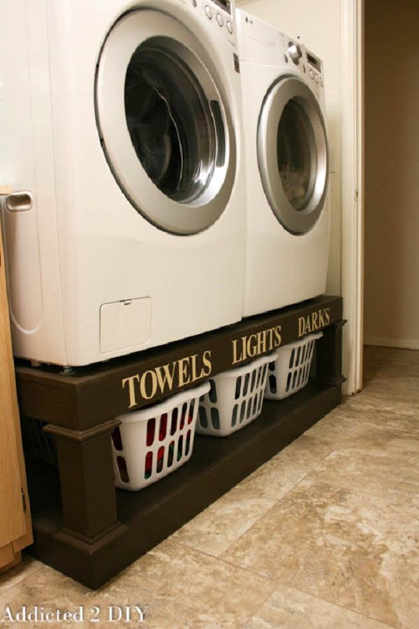 How to make a #DIY laundry room pedestal #organization