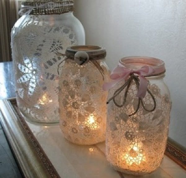 How to make  mason jar doily lanterns