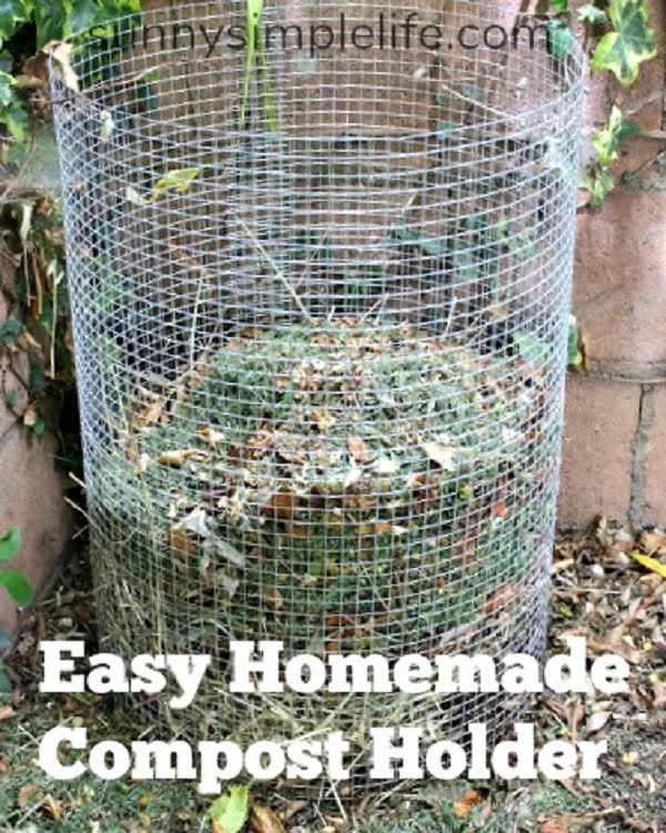 How to make a #DIY mesh compost bin #gardening