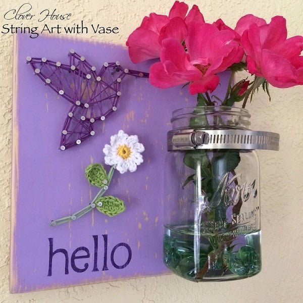 How to make  string art with mason jar vase