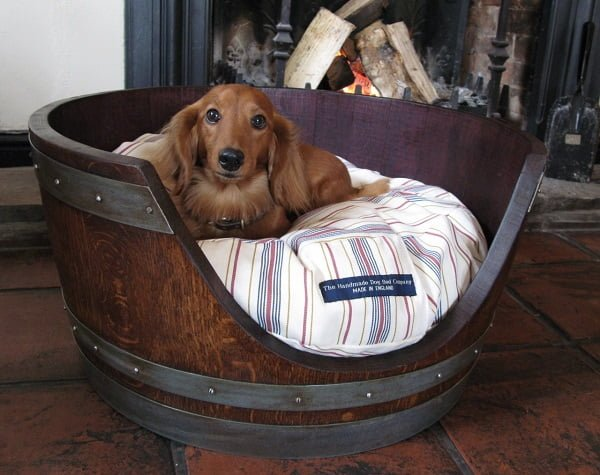 Dog Bed from a Wine Barrel
