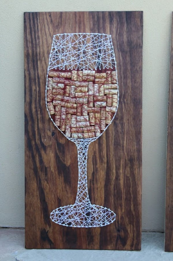 How to make  wine cork string art