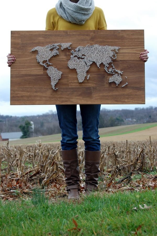 How to make  world map string art